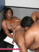 Busty and diamond eating pussy in the tub and on a black sofa.